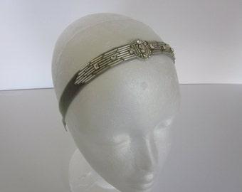 Great gatsby headband, gatsby headpiece, Silver beaded headband, Gold headpiece, rhinestone headband, 1920 costumes gold flapper dress