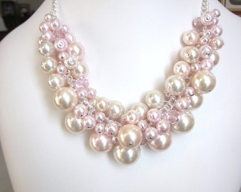 Pearl Cluster Necklace in Shades of Blush Pink and Rose- Chunky, Choker, Bib, Necklace, Wedding, Bridal, Bridesmaid