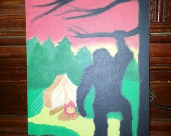 Bigfoot Painting on Recycled Plywood