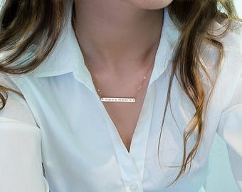 Gold Bar Necklace, Initial Bar, Nameplate bar, Name necklace, Valentines gift, Horizontal bar pendant, Monogramed bar, Gift for her