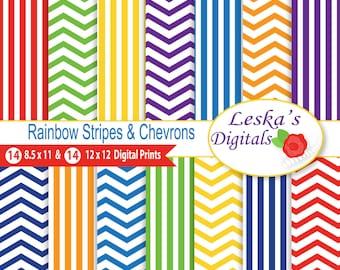 "Rainbow Digital Paper, Rainbow Scrapbook Paper - ""CHEVRON RAINBOW"" Digital Scrapbook Paper, Rainbow Digital, Rainbow Paper Pack"