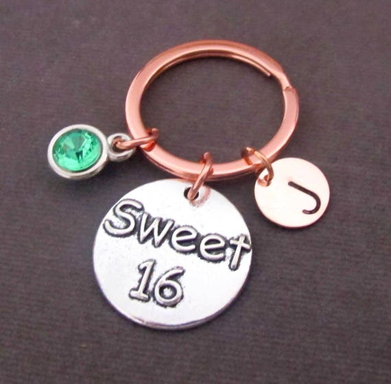 Sweet 16 Keychain, 16th Birthday Gift, Sweet 16 Keyring, Sweet 16 Jewelry, Personalized Sweet Sixteenth Birthday Gift, Free Shipping In USA