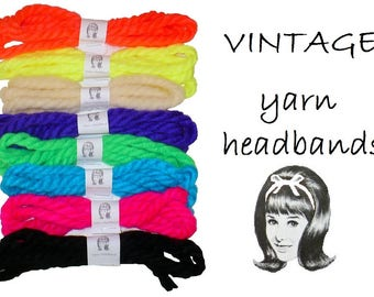 Discounted Lot of Eight Vintage 1960's Yarn Headbands Hair Ties Ribbons