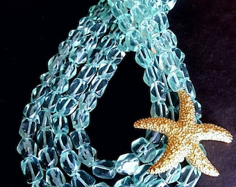 Multistrand Aqua Blue Tumbled Glass Nugget Necklace with Large Beach Wedding Starfish Gift for Her