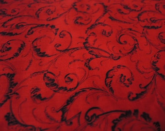 xxxreservexxxVintage 1990s cotton fabric red and black floral 44 inches wide BTY