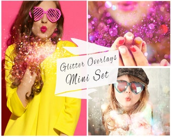 MINI SET, Glitter Photoshop Overlays, Glitter Effect Overlays, Digital Backdrop,  Photo Effect, Instant Download
