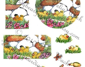 Puppy Dog and Ducks - Elements of Collage - Digital Printable PDF