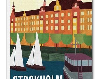 Stockholm Sweden Art Travel Poster Vintage Print Canvas Hanging Wall Decor xr971