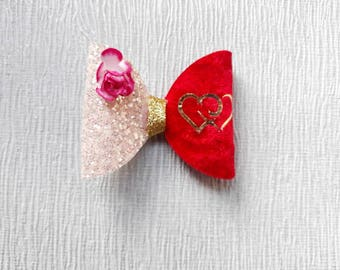 Valentine's day hair bows, Valentine's day hair clips, heart hair bows, red velvet baby bows, girls hair bows, glitter toddler hair slides