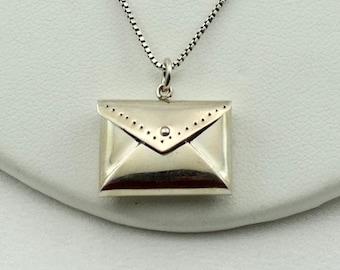 "Vintage Secret Chamber Sterling Silver Envelope Locket Pendant. With 19"" Silver Chain #LETTER-LKT"
