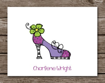 PRINTABLE Shoe Note Cards, Shoe Cards, Personalized Note Cards