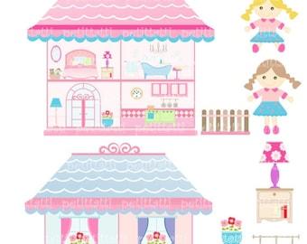 ON SALE doll house clip art - girl clip art, Digital clip art, Doll house, rag doll, instant download clip art