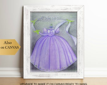Princess Purple Dress Girls Wall Art, Girl Nursery Decor, Girls room Decor, Kids Wall Art, Nursery Decor, Nursery Wall Art, Princess Dress