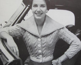 1950's Vintage Knitting PDF Pattern Women's Saratoga Sweater 731-3