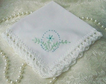 Ladies handkerchief, Floral Hanky, Something blue, Hand Crochet, Lace  Hankie, Custom Embroidered, Monogrammed, Personalized, Ready to ship