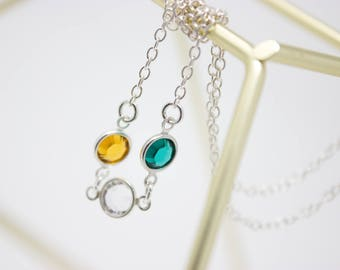 Mother's Jewelry, Crystal Birthstone Mother's Necklace Sterling Silver, Choose your Birthstone Colors