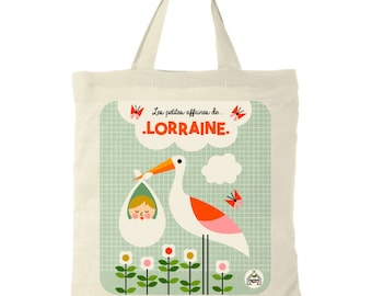 """Child tote bag personalized name """"Stork""""."""