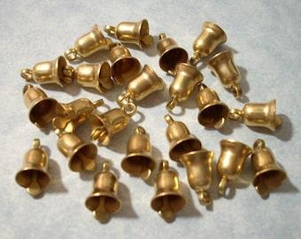 12 Small Brass Bells 10mm Vintage Brass Bell Charms