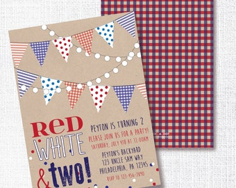 Patriotic 2nd Birthday Party Invitation, Printable, Red White And Two Invite, 4th of July, Memorial Day, Labor Day, Rustic, Country Chic