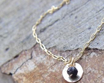 Raw Diamond Necklace, Raw Diamond Jewelry, Rough Diamond Necklace, Dainty Gold Necklace, Hammered Gold Disc Necklace, Delicate Gold Necklac