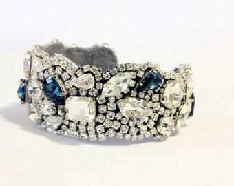 New Bridal Bracelet Wedding Crystal Cuff Vintage Cuff, Montana Blue Swarovski Bracelet , Bridal Cuff, Statement Cuff,