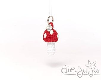 Key fob Mini Fly mushroom mushroom toadstool crochet crochet