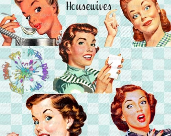 Retro Housewives 50s Vintage   Mid Century Modern Women   Clipart Instant Download