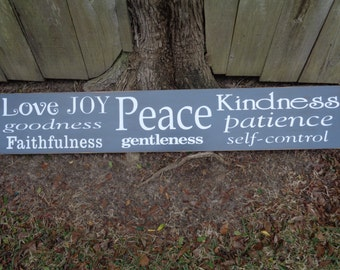 Galatians 5:22, Peace Love Sign, The gifts of the Spirit, Wedding, Anniversary, 55x9.25