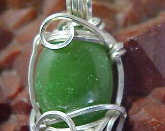 Green Nephrite Jade Sterling Silver Wire Art Pendant Assists One In Accessing Knowledge And Sacred Ceremony 001