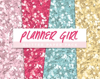 Planner Girl Collection Glitter Seamless Paper Pack // Seamless Pattern Digital Papers Planner Stickers Clipart Digital Scrapbooking