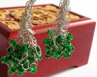 Crochet wire Earrings/ Green silver wire earrings/ Green wire earrings/ Christmas gift earrings/ Wire Wrapped Earrings/ Dangle Earrings