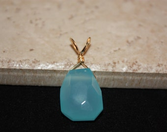 Unique Artisan Gold Filled, Aqua Chalcedony Pendant