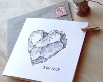 Witty birthday card, Valentine's Day, Father's Day, You rock - all occasion letterpress card, heart shaped rock, black & white