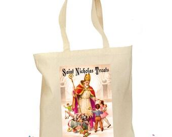 Saint Nicholas Tote Bag Christmas St. Nick Retro Gift Canvas Vintage - St. Nick Gift - Traditional Saint Nicholas Bag - Santa Bag Kids