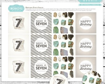 Geology Birthday Party Circles - Use as cupcake toppers, favor tags and so much more! Your little geologist will love them!