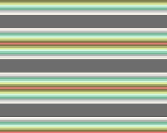 Green and Gray Stripe Fabric - Chipper by Tula Pink for Free Spirit - Tick Tock Stripe Mint - Fabric By the Half Yard