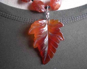 Leaf Necklace / Agate / Lampwork / Carnelian - A Northern Breeze