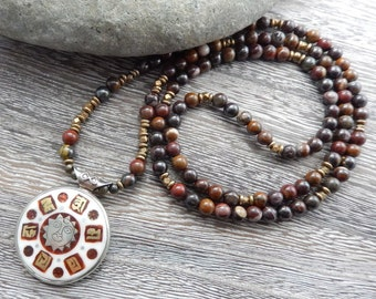 SALE - 20% OFF, Tiger Iron Mala with reversible Tibetan Pendant, Meditation Beads, 108 Prayer Beads, Mala Necklace, Reiki charged