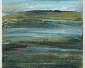 Original painting, landscape painting, abstract landscape, oil painting, abstract art, small painting, oil on canvas, seascape,moorland,sky