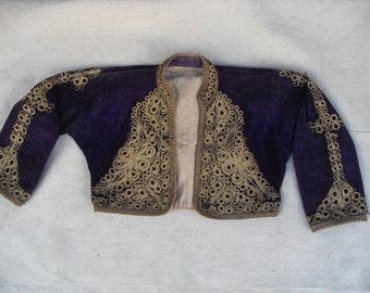 free shipping VINTAGE OTTOMAN  velvet jacket