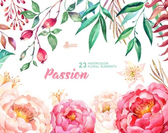 Passion 23 Watercolor Floral Elements, hand painted clipart, peonies, floral wedding invite, greeting, berry diy clip art, flowers, hawthorn