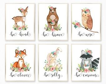 Nursery Wall Art. Woodland Nursery. Nursery Decor. Nursery Printable. Baby Girl. Nursery Art. Nursery. Woodland Nursery Art. Be kind Brave
