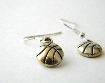 Small Basketball Earrings Silver Color Dangle Earrings Sports Earrings
