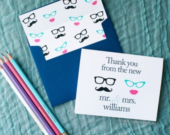 FREE SHIPPING Thank You From the New Mr and Mrs Wedding Cards / Wedding Thank Yous / Bridal Thank You Notes Stationery | Bridal Shower Gift