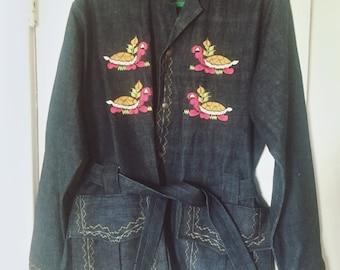 1970s unisex Denim turtle embroidered jacket