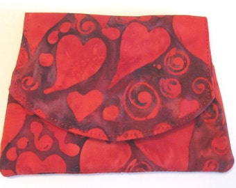 Red Hearts on Red Small Batik Wallet