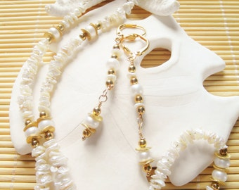 """17"""" long Freshwater Keshi and potato pearl necklace and earring set"""