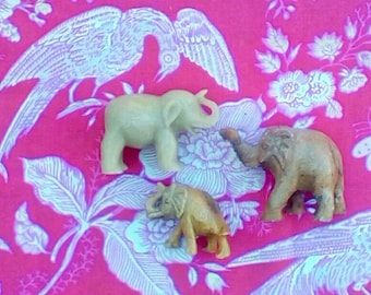 Vintage Stone Elephant Family Trio