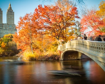 Bow Bridge, fine art print, nyc, long exposure, New York, Bow Bridge photo, wall art, Central Park, Fall, Autumn leaves