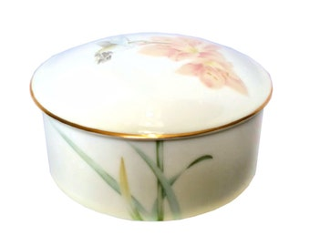 Vanity Puff Box Vintage Fine China Cream with Hummingbird in Flight Trinket